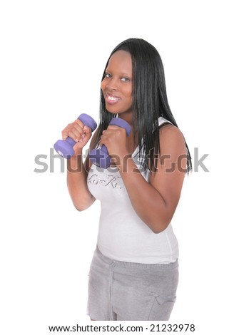 one african american woman working out over white - stock photo
