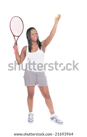 one african american woman working out playing tennis over white - stock photo