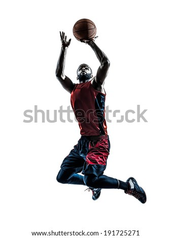 one african man basketball player jumping throwing in silhouette isolated white background - stock photo