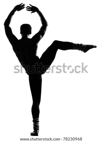 one  african man dancer dancing on studio isolated white background - stock photo