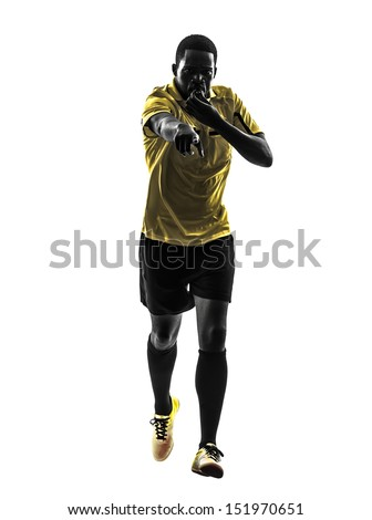 one african man referee  running whistling in silhouette  on white background - stock photo