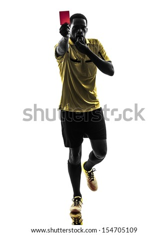 one african man referee showing red card  in silhouette  on white background - stock photo