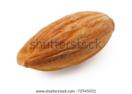 one almond closeup isolated on white background - stock photo