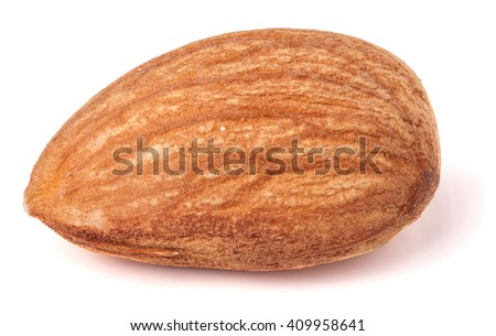 One almond nut isolated on white background close-up macro - stock photo