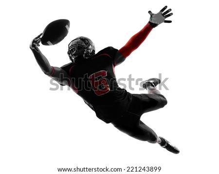 one american football player catching ball in silhouette shadow on white background - stock photo
