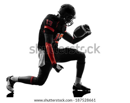 american football player man triumphant in silhouette