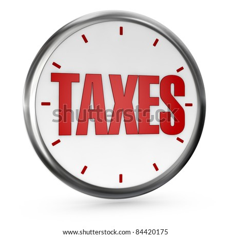 one analog clock without hands with the word TAXES on center (3d render) - stock photo