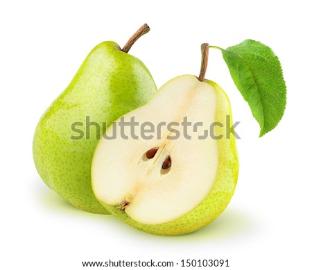 One and a half green pears over white background - stock photo