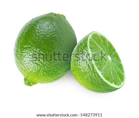 One and a half lime fruit isolated on white background