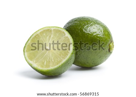 One and a half lime isolated on white background