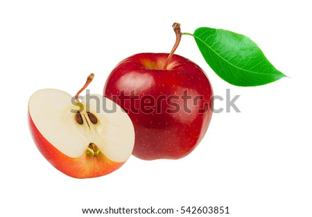 One and a half red apples isolated on white background