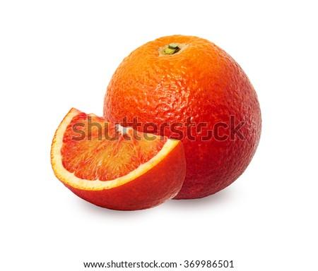 One and a half red orange over white background. Washington Sanguine blood orange. - stock photo