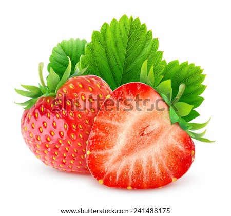 One and a half strawberries with leaf over white background, with clipping path - stock photo
