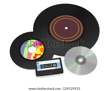 one 12'' and a 7'' vinyl records, a compact cassette and a cd disc (3d render) - stock photo