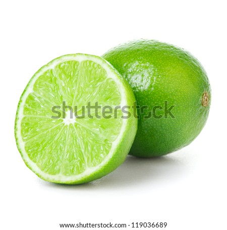 One and half limes on white background - stock photo