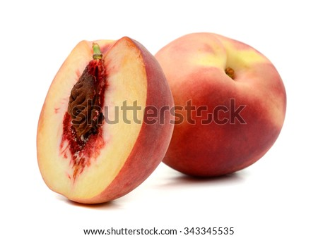 one and half peach on white background