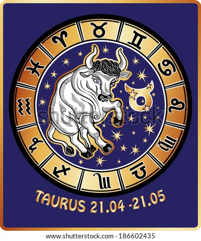 One animal Taurus  rides behind them are symbols of all zodiac signs in  Horoscope circle. Golden and white figure on blue background.Graphic Vector Illustration in retro style.  - stock photo
