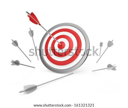 one arrow hit on bull's-eye, others missed - stock photo