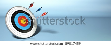 one arrow hitting the center of a target, two red ones failed to reach their objective, horizontal banner - stock photo