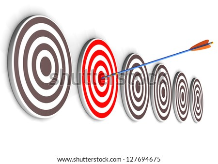 One arrow in the right target bullseye. White background. - stock photo