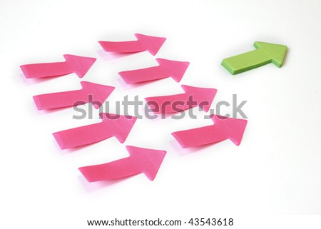 One arrow leading many paper arrows business concept