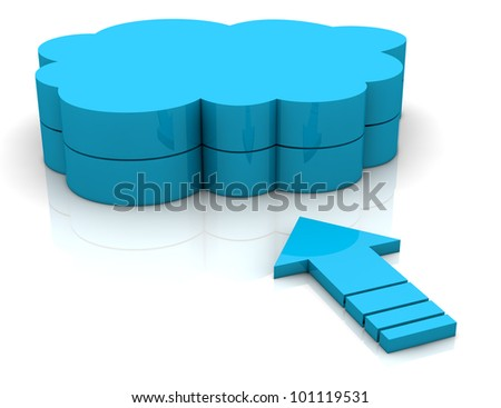 one arrow pointing toward a cloud. concept of  working with online data (3d render) - stock photo