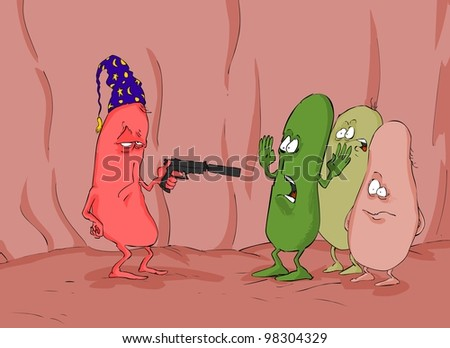One bacterium threatened with a weapon to other - stock photo