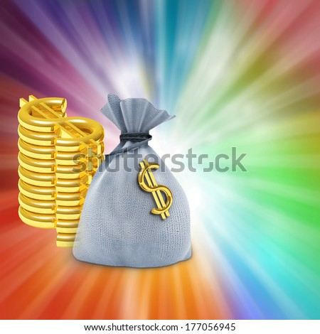 One bag and dollars on colored background - stock photo