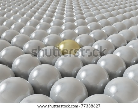 one ball different, gold - stock photo