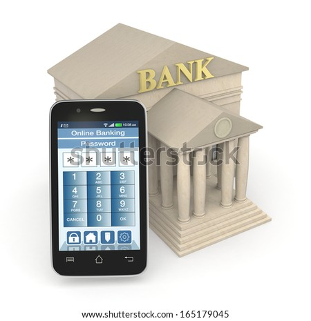 one bank building and a smartphone with an online banking app (3d render) - stock photo