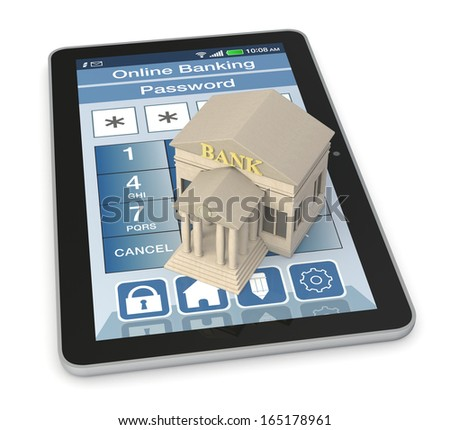 one bank building and a tablet pc with an online banking app (3d render) - stock photo