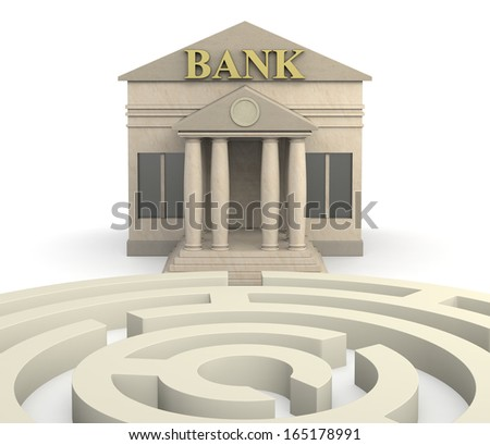one bank building with a maze (3d render)