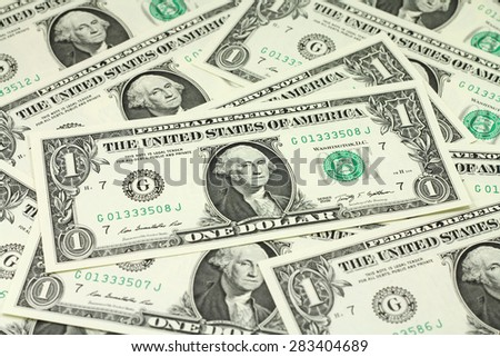 one bank note American dollars abstract background