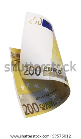 one banknote 200 euro, isolated on white with clipping path - stock photo