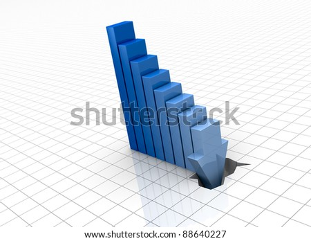 one bar chart with the last bar that breaks the floor, concept of crisis or bankrupt (3d render) - stock photo