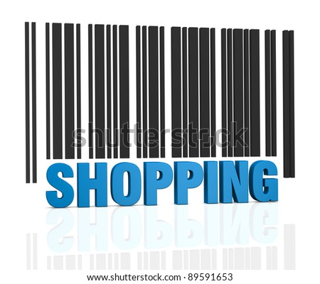 one bar code with the word: shopping, instead of numbers (3d render) - stock photo