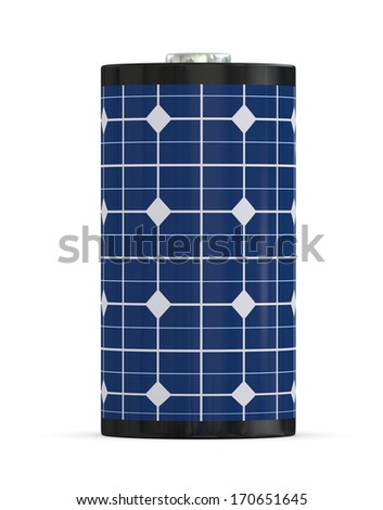 one battery covered with a solar panel, concept of clean energy (3d render) - stock photo