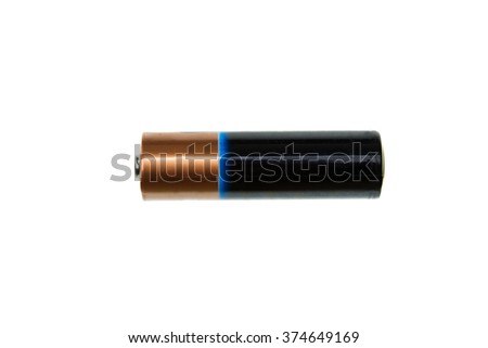 one battery, energy, isolated on white background