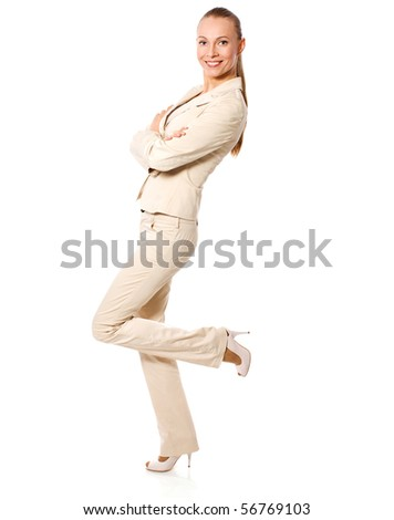 One beautiful Standing businesswoman isolated on white - stock photo