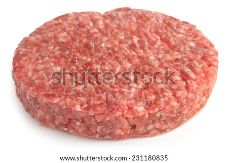 one beef burger isolated on white background - stock photo