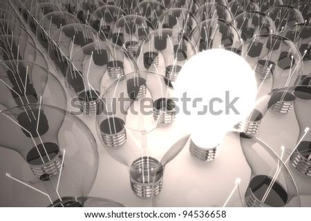 one big idea among other idea light bulb - stock photo
