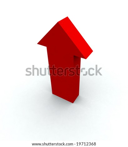 One big red arrow pointing up with shadow. - stock photo