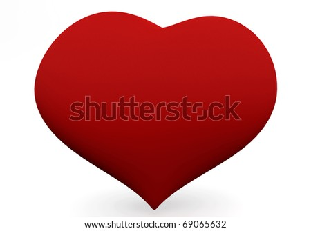 One big red heart isolated on white. 3D love concepts. - stock photo