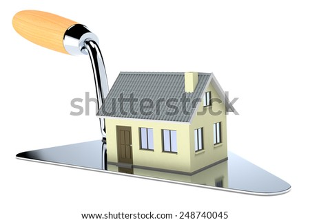 one big trowel with a house, concept of real estate market (3d render) - stock photo