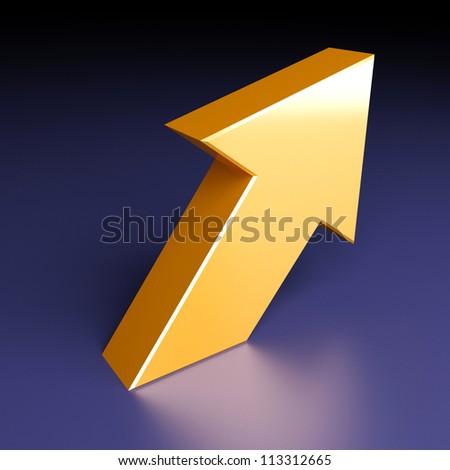 One big yellow metallic arrow on dark background - stock photo
