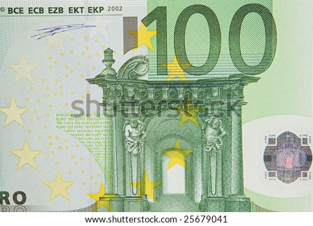 One bill of one hundred of euros a over white background - stock photo