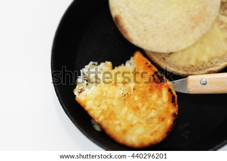 one bite hash brown and english muffin - stock photo