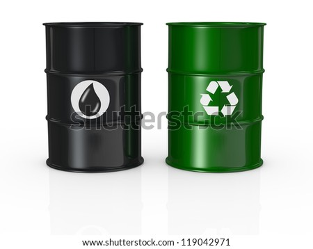one black barrel with the oil symbol and one green barrel with the recycling symbol, concept of alternative energy (3d render) - stock photo