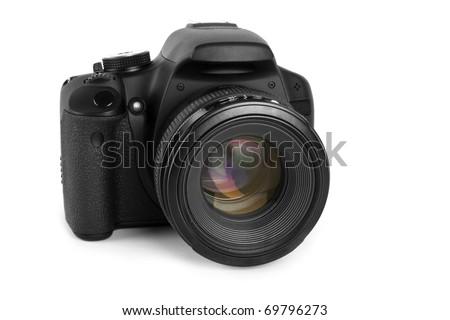 One black camera isolated on white background - stock photo