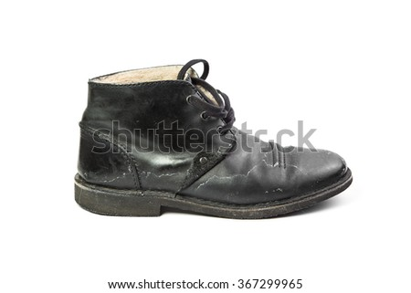 one black dirty winter man's boot, isolated, on white background  - stock photo